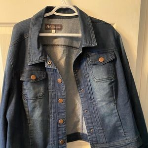 worn once Jean jacket with faded design